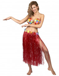 Jupe hawaïenne longue rouge adulte