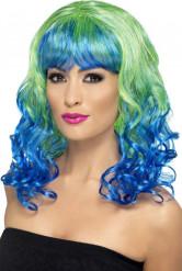 Perruque bouclée bleue et verte femme
