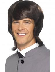 Perruque années 60 marron homme