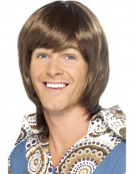 Perruque années 70 marron homme