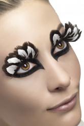Faux cils plumes marron et blanc adulte