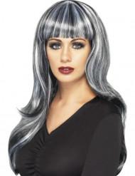 Perruque longue noire et blanche avec frange femme