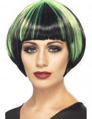 Perruque carré noir et vert femme