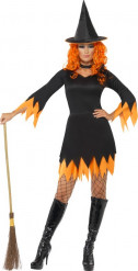 Déguisement sorcière orange et noire femme Halloween