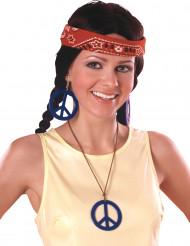 Boucles d'oreilles et pendentif Hippie bleu
