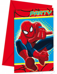 6 Cartes d'invitations Spiderman™