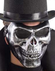 Demi masque squelette argent adulte