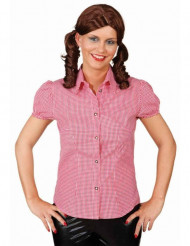 Chemise à carreaux rouge et blanc femme