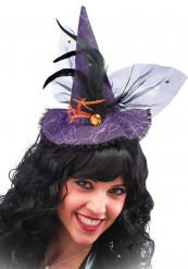 Mini chapeau sorcière dentelle violet adulte