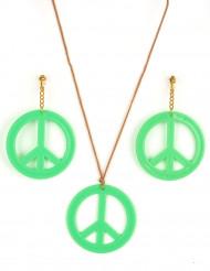 Boucles d'oreilles et pendentif Hippie vert