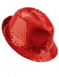 Chapeau pailleté rouge adulte