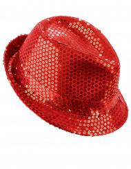 Chapeau à sequins rouge adulte