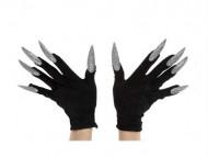 Gants noirs avec grands ongles argentés adulte Halloween