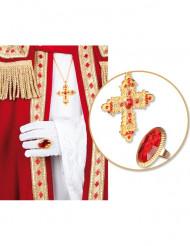 Bague et collier croix pape