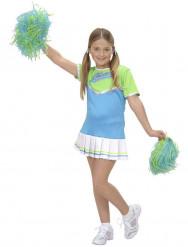 Déguisement pom-pom girl bleue fille
