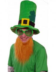 Chapeau velours vert avec barbe rousse Saint Patrick