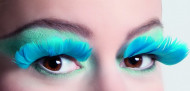 Faux cils plumes turquoise adulte