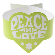 6 Ronds de serviette verts Hippie Peace and Love