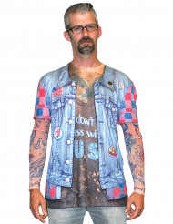 T-Shirt veste en jean tatouage adulte