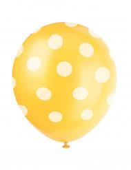 6 ballons jaune à pois blanc