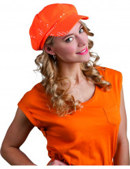 Casquette disco à sequins orange adulte