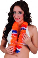 Collier Hawaï orange supporter tricolore adulte
