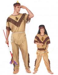 Déguisement de couple indiens père et fils