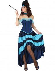 Déguisement cabaret années 20 bleu femme