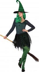 Déguisement sorcière toile araignée verte femme Halloween