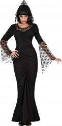 Déguisement sorcière dentelle noire femme Halloween