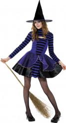 Déguisement sorcière violette et noire adolescente Halloween