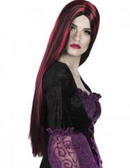 Perruque longue rouge et noire femme Halloween
