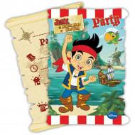 6 Cartes d'invitation avec enveloppe Jake et les pirates™