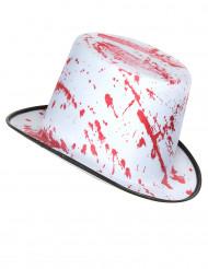 Chapeau blanc taché de sang adulte Halloween