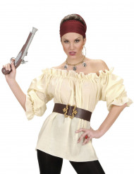 Chemise beige pirate femme