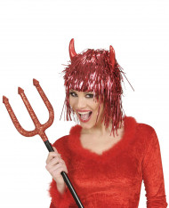 Perruque métallique diable rouge adulte Halloween