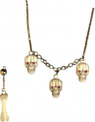 Set bijoux crâne adulte Halloween