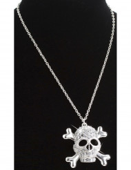 Collier tête de mort strass adulte