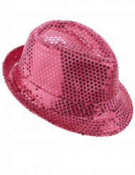 Chapeau borsalino à sequins rose adulte