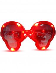 Lunettes lumineuses rouges tête de mort
