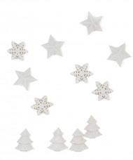 12 Décorations de table blanches Noël  2.5 cm