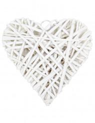 Cœur plein en osier blanc 20 cm