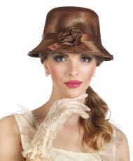 Chapeau marron charleston année 20 femme