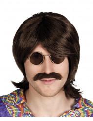 Perruque et moustache marron homme