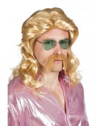 Perruque et moustache blond homme