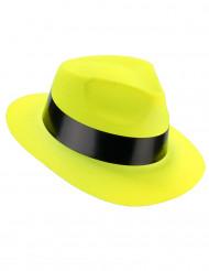 Chapeau gangster jaune fluo adulte