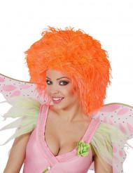 Perruque orange fluo femme