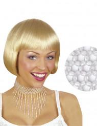 Collier ras du cou perles blanches femme