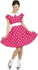 Déguisement robe rose à pois années 50 femme