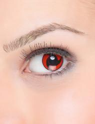 Lentilles fantaisie hélice noire sur fond rouge adulte